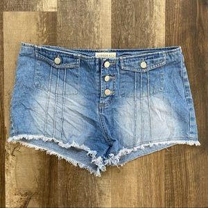 Button Front High Waist Jean Shorts
